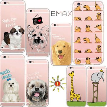 Mag Fond For iPhone 8 Cute Animal Phone Case for iPhone 5 SE 6 6s Plus 7 Plus Lovely Dog Elephant Giraffe Fashion Cases Coque