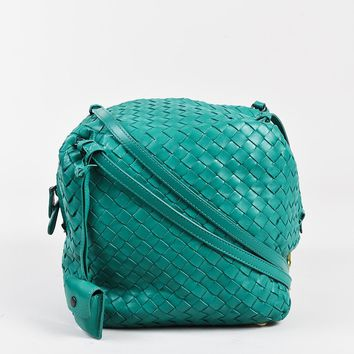 "Bottega Veneta Turquoise ""Intrecciato"" Leather ""Cube Messenger"" Bag"