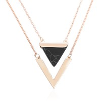 FAMSHIN Women Gold Color Punk Necklaces From India Hot Geometric Triangle Faux Marble Stone Pendant Necklace Vintage Jewelry