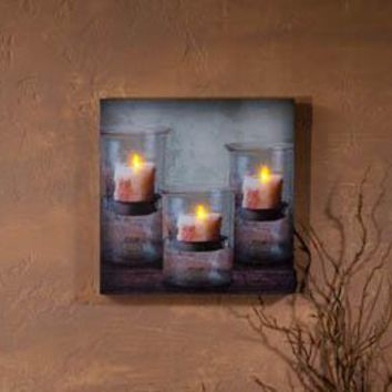 Lighted Recycled Glass Candle With Timer