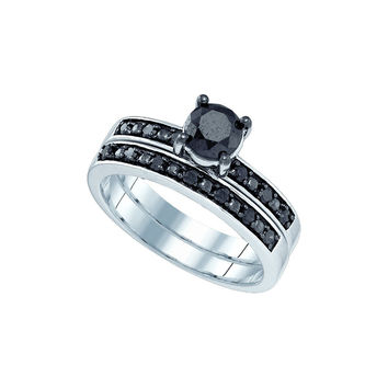 10kt White Gold Womens Black Colored Diamond Round Bridal Wedding Engagement Ring Band Set 1.00 Cttw
