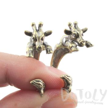 3D Giraffe Shaped Front and Back Two Part Stud Earrings in Brass