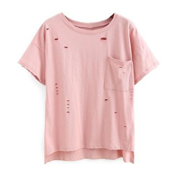 Holes Best Friends T Shirt Summer Loose Short Sleeve Casual Tshirt Women Clothes Kleding Vrouwen#121