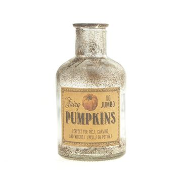 Halloween Antique Glass Pumpkin Jar, Clear, 4-3/4-Inch