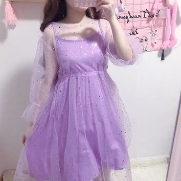Summer Japanese women Sweet Violet Two-piece set Harajuku Mesh Dresses kawaii Star Moon Piece Fairy Dress Send Neckband