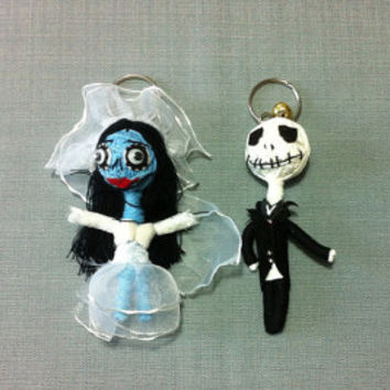 Jack skellington & bride couple String Voodoo Doll handmade Keyring Keychain film cartoon Key Ring Key Chain handmade funny Bag small gift