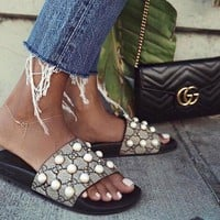 Gucci New Fashion Casual Women Pearl rivet point Sandal Slipper Shoes