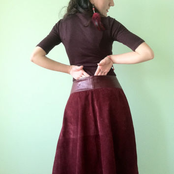 70s Suede Skirt, Midi Skirt, Mid Calf Skirt, Leather Circle Skirt, Burgundy Skirt, Women Skirt, Hippie Suede Skirt, Boho Skirt, Gypsy Skirt