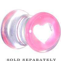 2 Gauge Clear Pink Acrylic Adoring Heart Saddle Plug | Body Candy Body Jewelry
