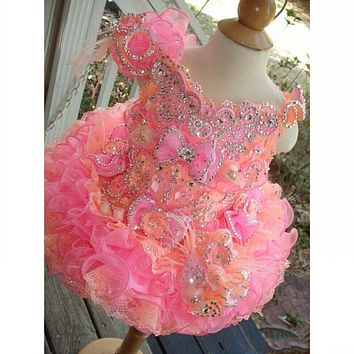 Beautiful Cupcake Organza Flower Girl Dresses 2016 Pink & Coral Crystal Cap Sleeve Lace Up Back Pageant Dress Little Girls Gown