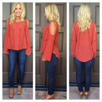 Anise Open Shoulder Tunic Top - BRICK