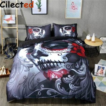 Cilected Black Skull Bedding Set Halloween Style Bed Sheet Queen King Double Bed Linen Cotton Blend Flower Skull Duvet Cover Set