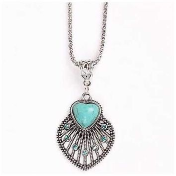 Peacock Heart Turquoise Token Of Love Pendant And Antique silver style Necklace