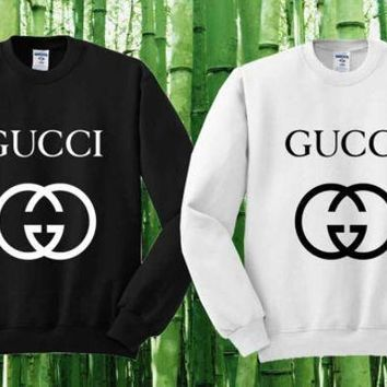 Day-First™ Gucci Sweater Black and White Sweatshirt Crewneck Men or Women Unisex Size I