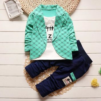 BibiCola  baby Boys Clothing Boy Clothes Plaid Suit 2 PCS Toddler Suit Set Spring Autumn Children's Clothing Boy Tracksuits Set