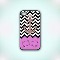 Chevron Pattern Light Purple Anchor - Design Print for iPhone 4/4s Case or iPhone 5 Case - Black or White