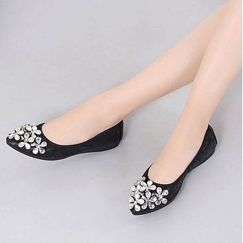 Comfortable Pointed Toe Oxford Rhinestone Flats