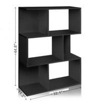 Black 3 Shelf Bookcase and Room Divider | Tool Free Assembly