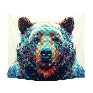 Bear Tapestry - Colorful Animals. Animal Photography, Nature Illustration, Wild Style, Color, Blue, Modern Design, Nordic, Children, Kids
