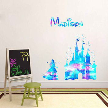 kcik1981 Full Color Wall decal Watercolor Character Disney Castle Disney Princesses Beauty and the Beast Belle Girl name Child's name