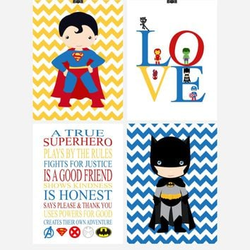 Superhero Rules Nursery Decor Set of 4 Prints - Love, Superman, Batman