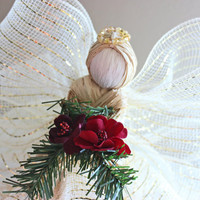 Angel Tree Topper - Christmas Angel Tree Topper - Cream & Gold Raffia Angel w/ Red Flower Christmas Ornament
