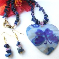 Mother of Pearl Blue Butterfly Lapis Lazuli Necklace and Earring Set