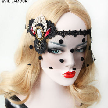 Princess goths lolita accessories Vintage mask Delicate lace veil of palace ball mask patch tire