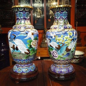 "Beautiful Pair of Cloisonne Grand Vase Crane Scene 23"" with Wooden Stand"