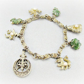 Antique / Vintage CORO Gold Charm Bracelet, ASAIN Good Luck Charms, Green Aventurine Stone / Faux Jade Charms, Pearl Charms, 1940s Jewelry