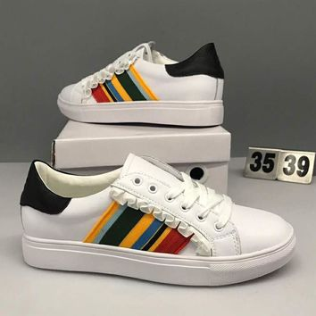 Tory Burch New Fashion Women Personality Chic Falbala Design Color Stripe Leather Flat Sport Running Shoe Sneakers I-CSXY
