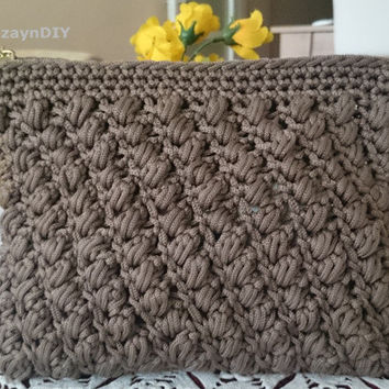 zippered clutch bag in soft brown,crocheted zipped clutch,macrame crocheted zipped bag,gold silver zipper variation,gift for her,classic bag