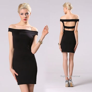 Sexy Women Off Shoulder Solid Stretch Bodycon Hollow Out Back Casual Hip Package Dress = 1838558980