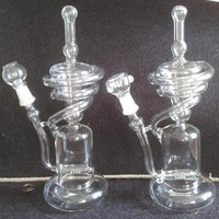 Recycler glass bongs 10.5 inch spiral tall recycler rig with inline perc with 14mm spiral designed bong,two functions Glass Recycler