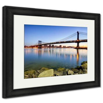 Framed Print, New York City Manhattan Bridge