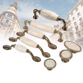 Luxury Vintage Kitchen Cabinet Ceramic Door Handles Wardrobe Knobs Closet Cupboard Furniture Pull Knob Wardrobe Handle