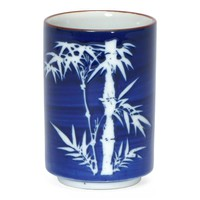 Bamboo on Cobalt Blue Japanese Tea Cup