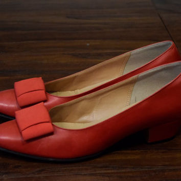 Vintage 60s Style Wm B Woods Red Leather Heels Shoes