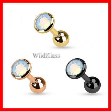 Rose Gold Flat Top Opalite Gem IP Over 316L Surgical Steel Tragus Barbell Tiny Stud Earrings 16g Cartilage Earring Helix Tragus Tragu Hex
