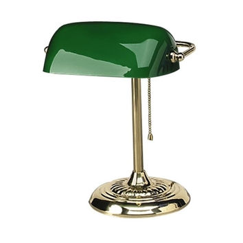 "ledu corporation bankers lamp, 14""h, uses 60w incandescent bulb, green shade"