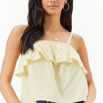 Flounce Pinstriped Top