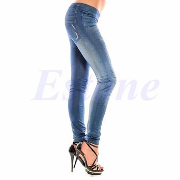 2017 new arrival Sexy Women Denim Look Jeans Ripped Skinny Jeggings Stretchy Slim Leggings Pants