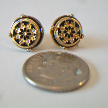 Avon Black Round Medallion Stud Earrings Enamel Starburst Gold Tone Costume Jewelry Fashion Accessories For Her