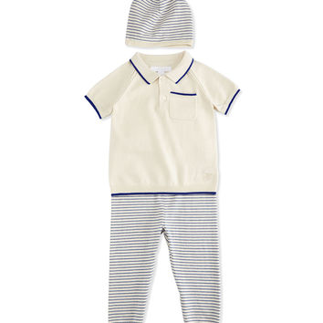 Fine-Knit Shirt, Pants & Baby Hat Boxed Gift Set, Bright Lapis/Cream, Size 3-18 Months,