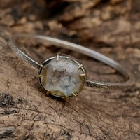 Druzy bangle bracelet with gemstone set in silver and brass bezel and prong setting