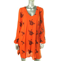 Free People Womens Embroidered Long Sleeves Casual Dress