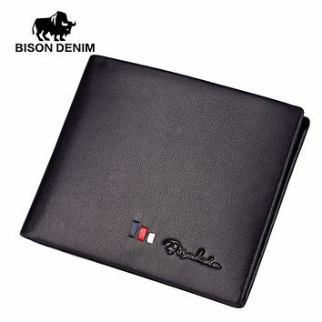 Men Wallets leather genuine wallet for men Black business casual ID card