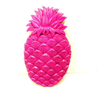 pineapple wall decor, neon home decor, retro, fruit, pop art, kitsch, hot pink magenta, plaster plaque, tropical