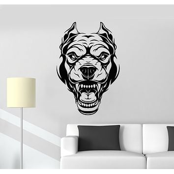 Vinyl Wall Decal Angry Dog Portrait Animal Security Pet Garage Decor Stickers Mural (g980)