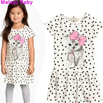 Malayu Baby 2016 new summer girls clothing, baby dress cute cat drinking milk print dots printed short-sleeved dress 2-6 years
